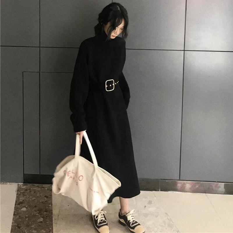 【EruMon】ウエストマークタートルAラインニットワンピース タートルニット ワンピ ドレス