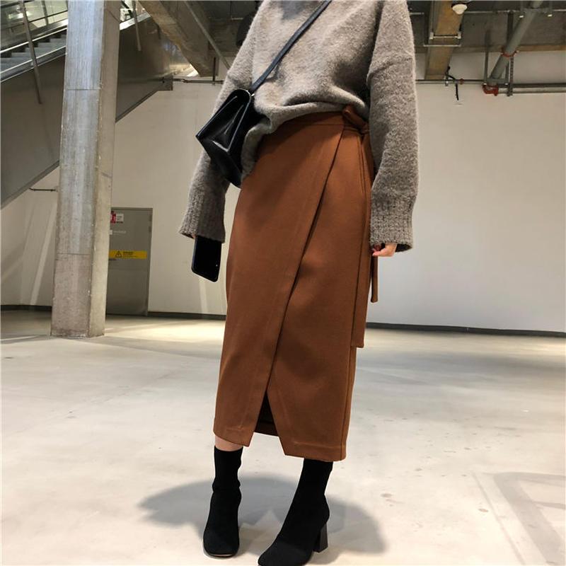 【EruMon】エコウールラップミドルスカート ロングスカート ミモレ丈