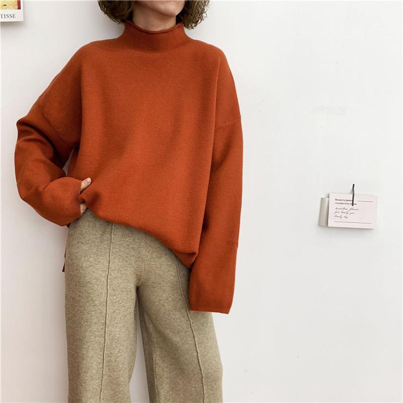 【EruMon】ベイクドカラーハイゲージニット セーター タートルネック ハイネック
