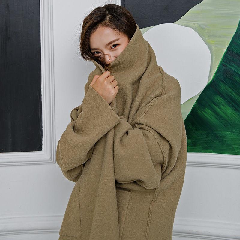 【EruMon】エコウールカットオフノーカラーコート ガウンコート オーバーサイズ ゆったり フェイクウール