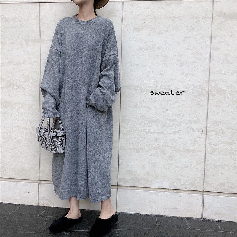 【EruMon】オーバーサイズシルエットニットワンピース ワンピ ビッグサイズ ビッグシルエット セーター