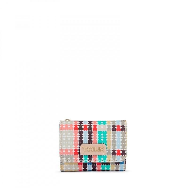 ピンク-マルチカラーのフラップ付き小銭入れ Tartan Bears(995790072)