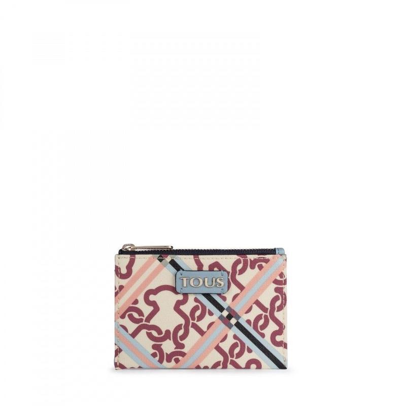 ベージュとブルーモのカードホルダー付き小銭入れ Mossaic Frames(995790068)