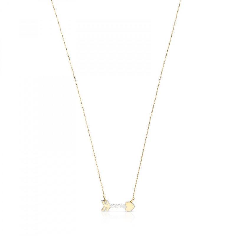 ゴールドとマザーオブパールの矢形ネックレス San Valentín(915302010)