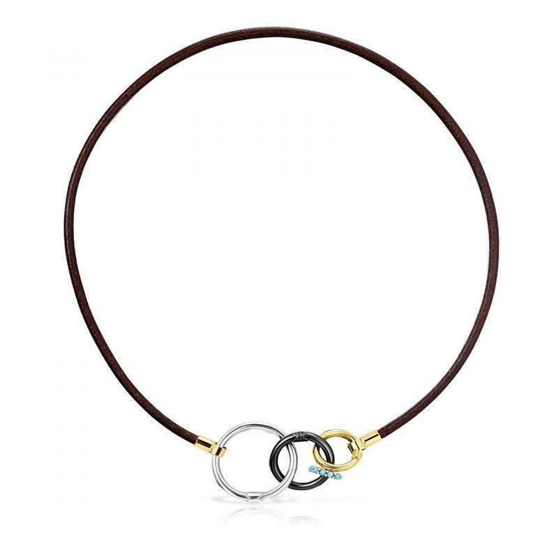 革チョーカーHOLD3色コンビ ゴールドコーティング / シルバー / 牛革 / 42cm(812342560)