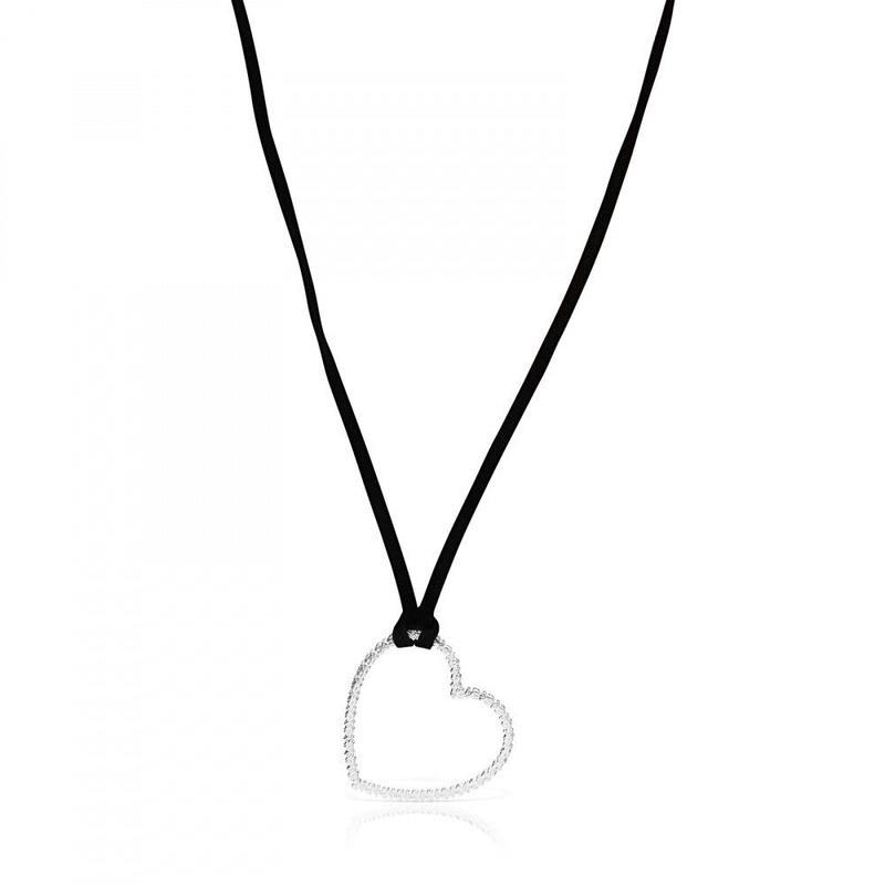 ハートの黒紐ネックレス San Valentín(915304570)