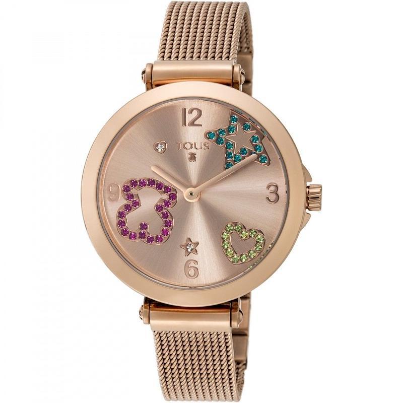 クリスタルが付いたピンクのステンレス IP 腕時計 Icon Mesh(600350390)