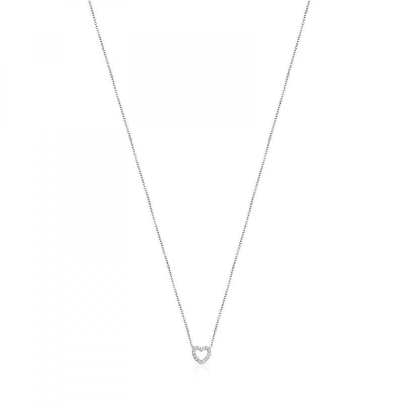 ダイヤモンドとホワイトゴールドのハートネックレス Les Classiques(918522000)