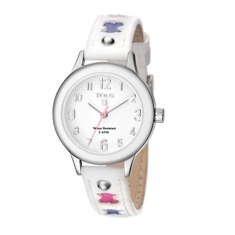 白い革バンドが付いたステンレス腕時計 Dolce(200350115)