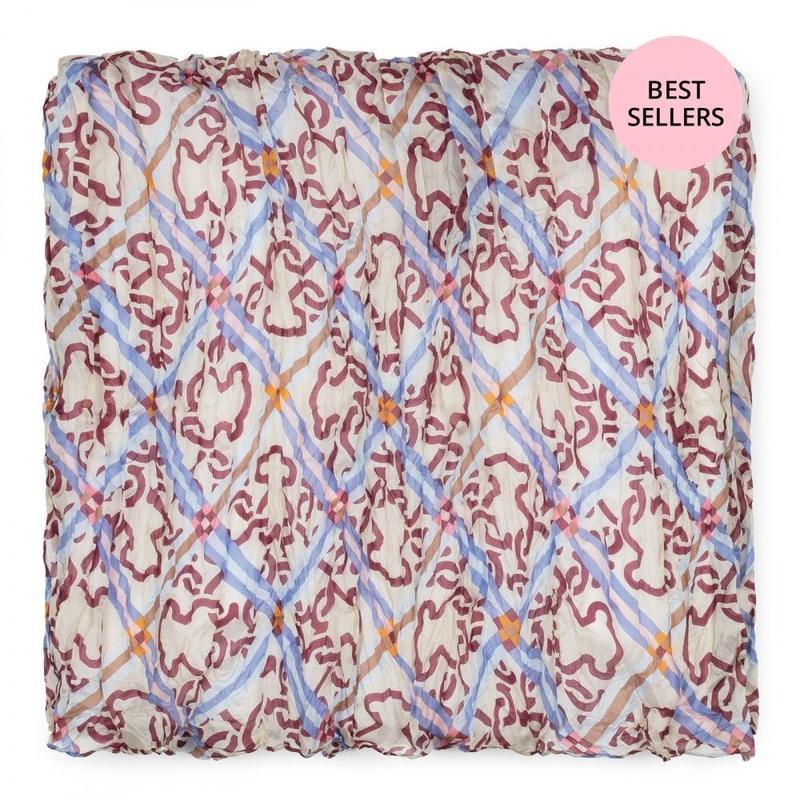 ブルー/ワインカラーのプリーツスカーフ Mossaic Frames(995920155)