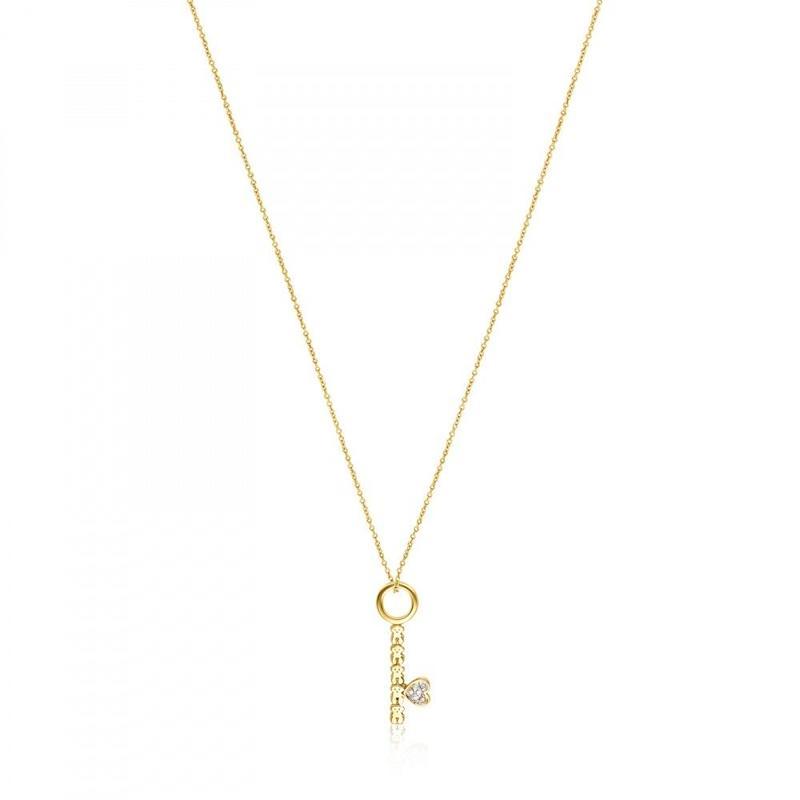 ダイヤモンドが付いたゴールドのキーネックレス San Valentín(915302000)