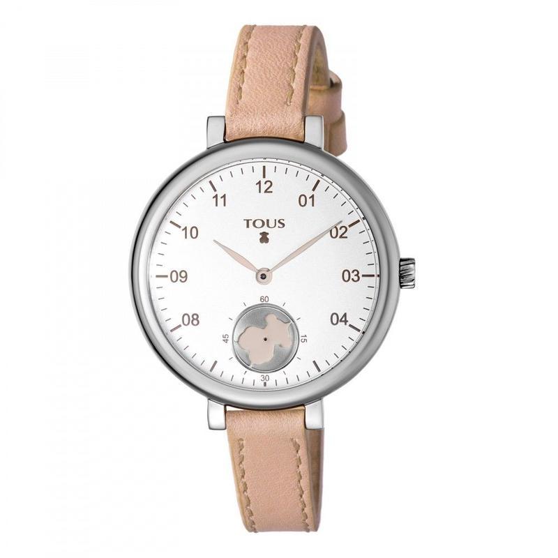 ヌードカラーの革バンドが付いたステンレス腕時計 Spin(600350435)