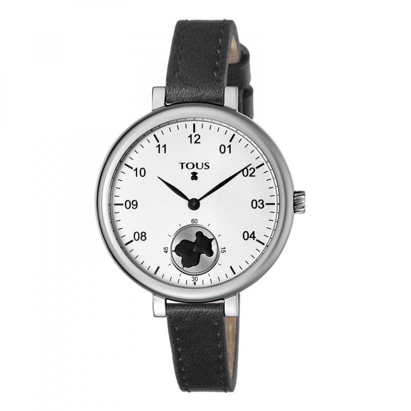 黒い革バンドが付いたステンレス腕時計 Spin(600350430)