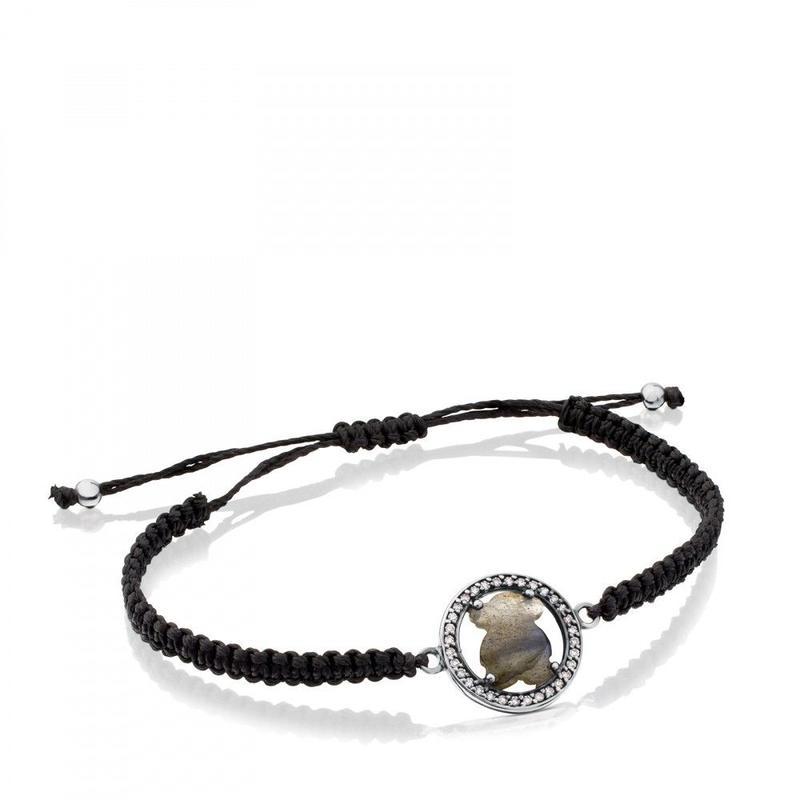 オキシダイズドシルバーにラブラドライトとダイヤモンドが付いたブレスレット Camille (712161700)