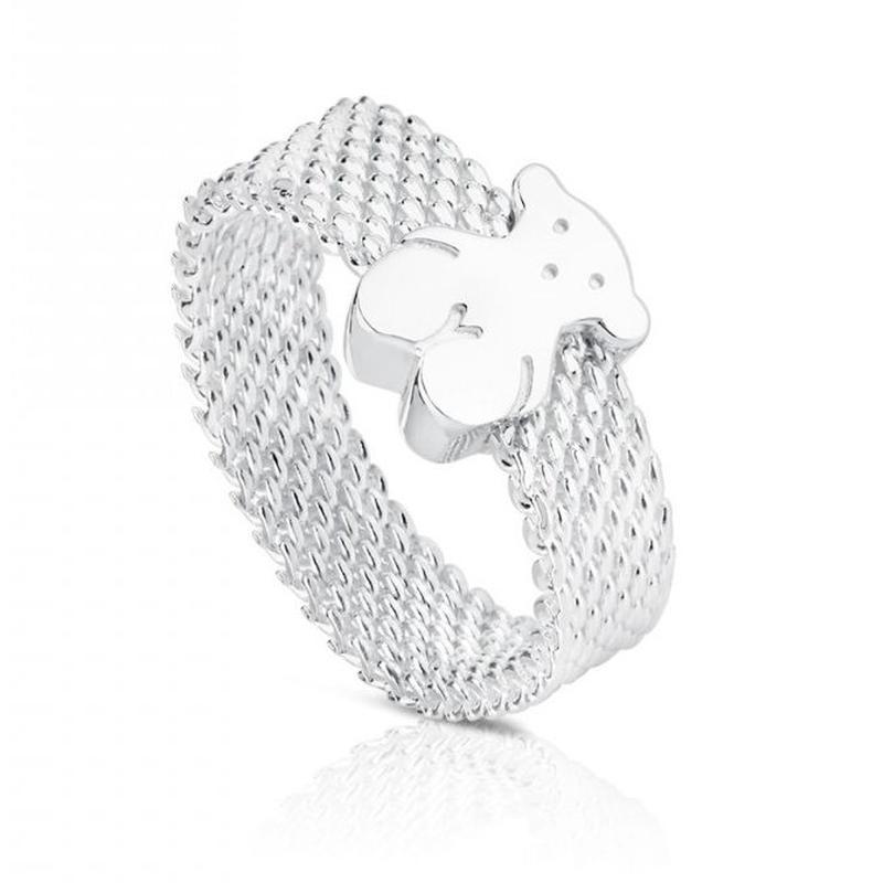 シルバーのリング Mesh ring  5mm bear N12(010390200)