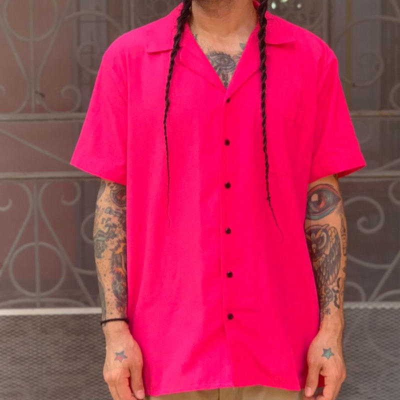 "[ESG-C03S-FI]  S/S GUAYABERA "" OPEN COLOR  "" FIUSHA(PINK)"