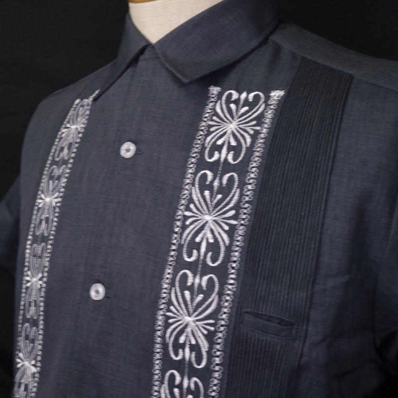"[ESG-01SP-HNW] POLYESTER S/S  HEATHER NAVY × WHITE ""ORIGINAL GUAYABERA"""