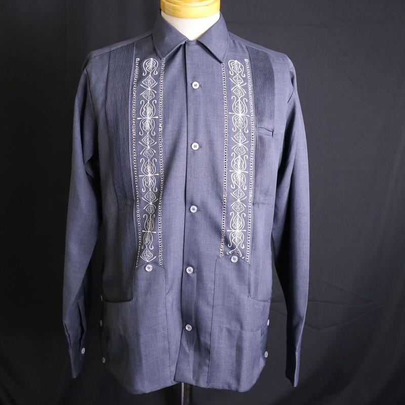 "[ESG-01LP-HN] L/S GUAYABERA ""REJILLADA CIPRE ""   HEATHER  NAVY × WHITE"