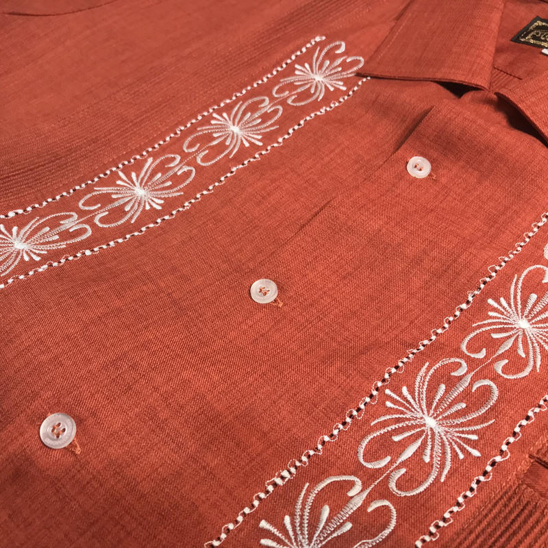 "[ESG-01SP-ORW] POLYESTER S/S  ORANGE × WHITE ""ORIGINAL GUAYABERA"""