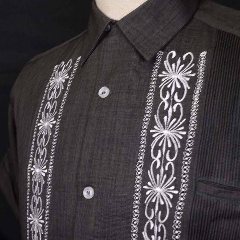 "[ESG-01SP-HBW] POLYESTER S/S  HEATHER BLACK × WHITE ""ORIGINAL GUAYABERA"""