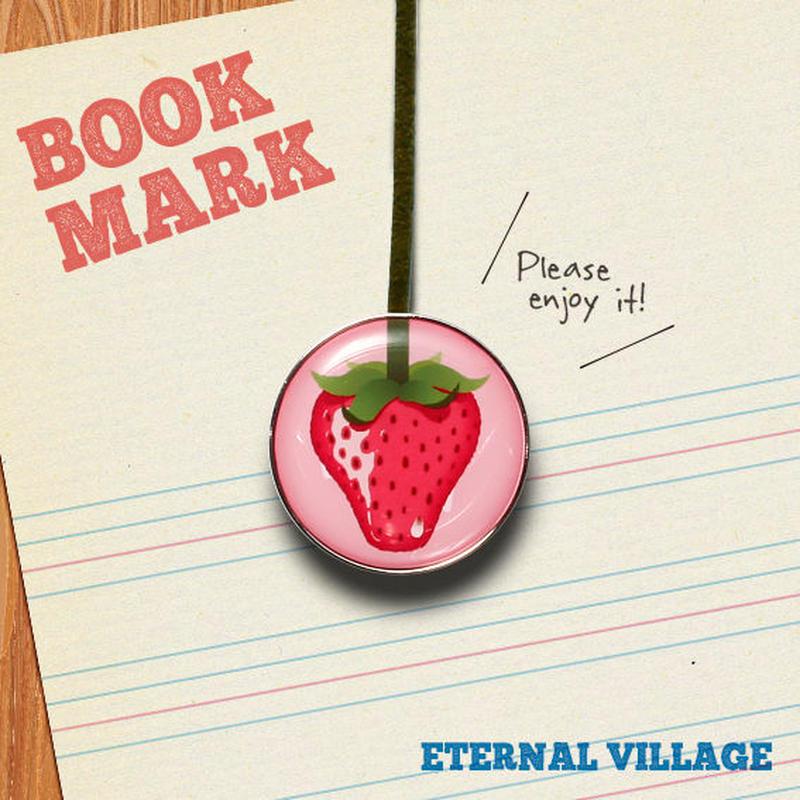 「イチゴ柄のクリップ型ブックマーク」No.210