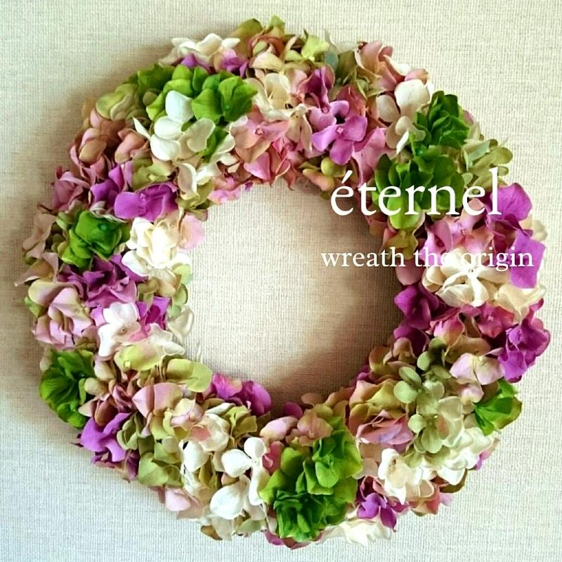 pink×green wreath  φ30