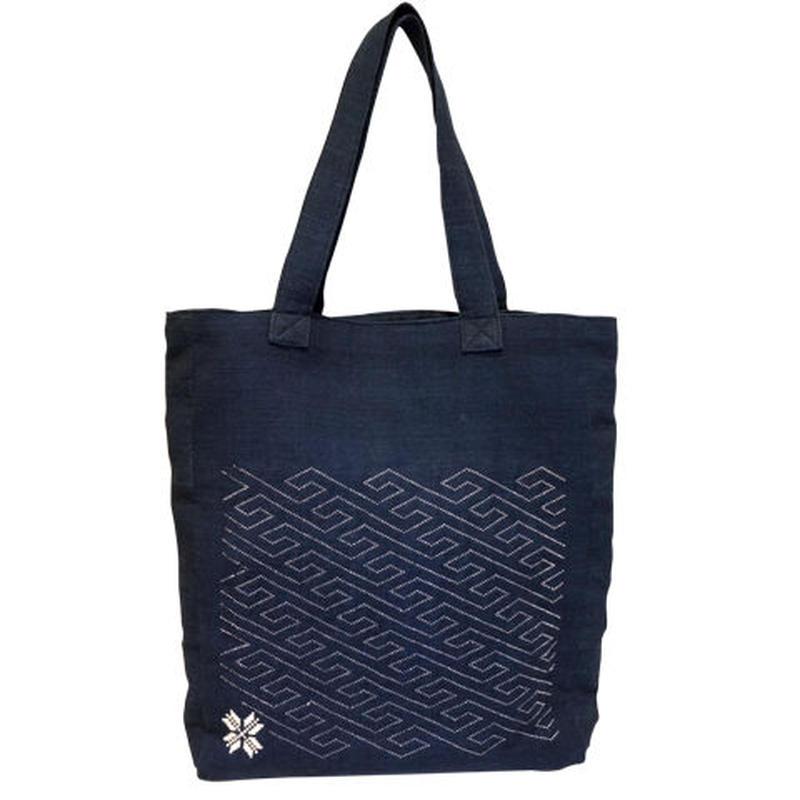 ラオスの藍染め手織り模様トートバッグ