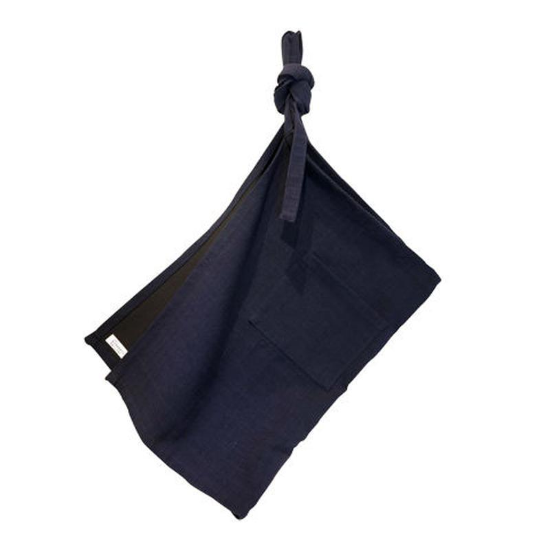ラオスの手織り藍染め 前かけエプロン(長丈)