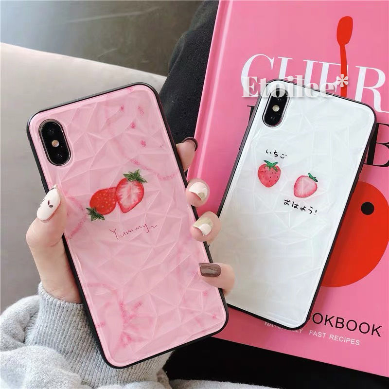 Strawberry black side iphone case