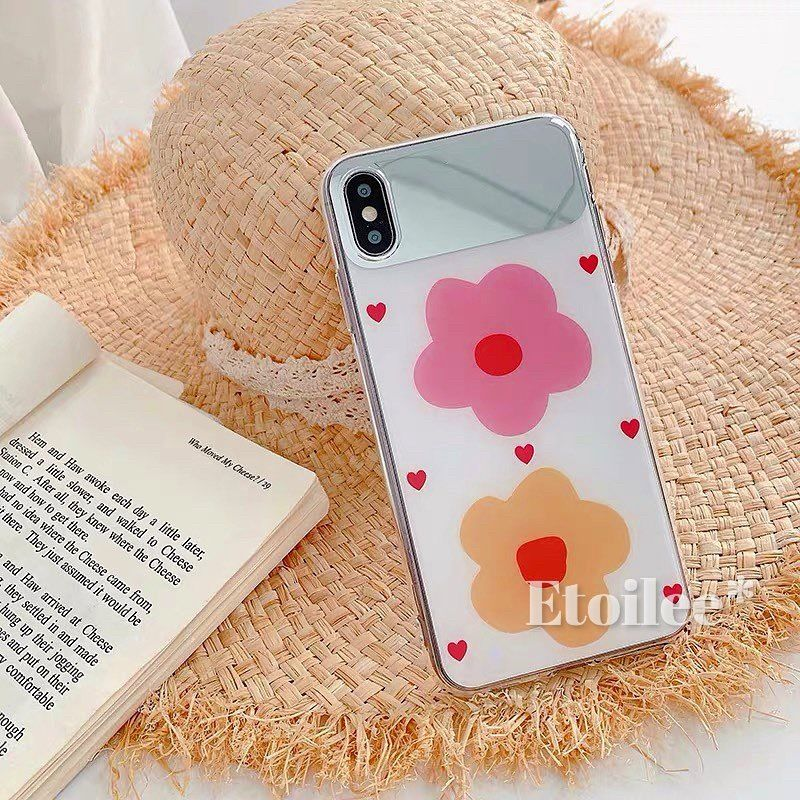 Pink yellow flower  mirror iphone case