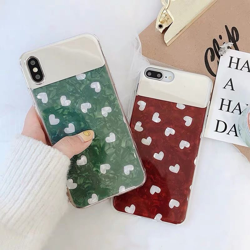 Green red heart mirror iphone case