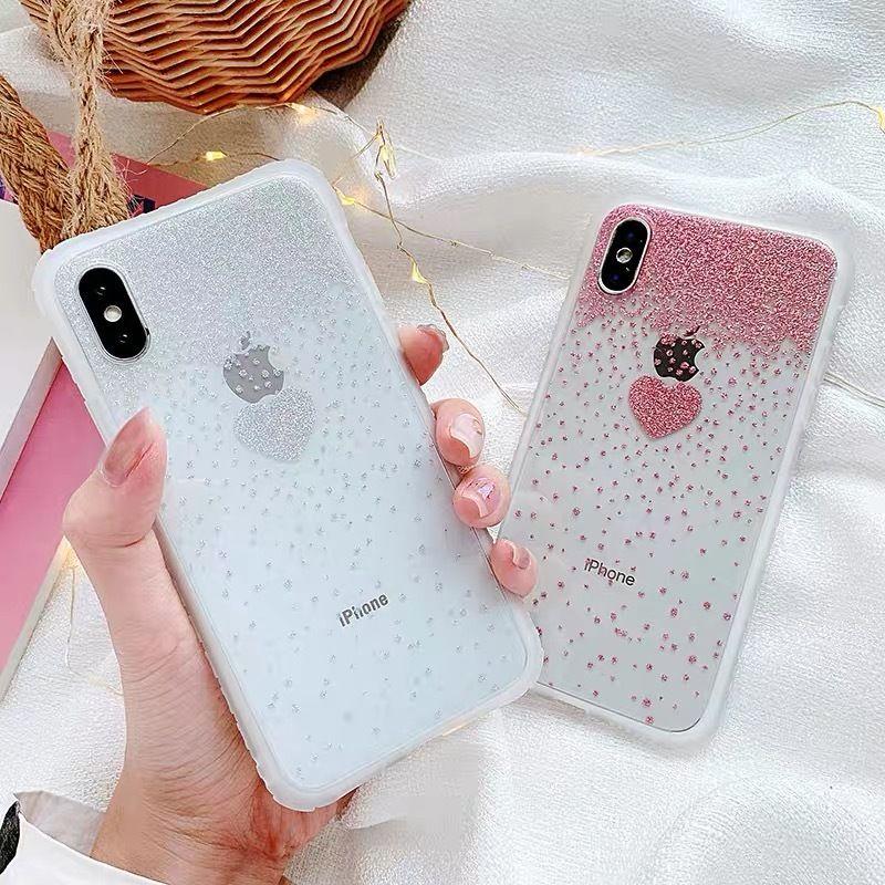 Heart 3colors glitter iphone case