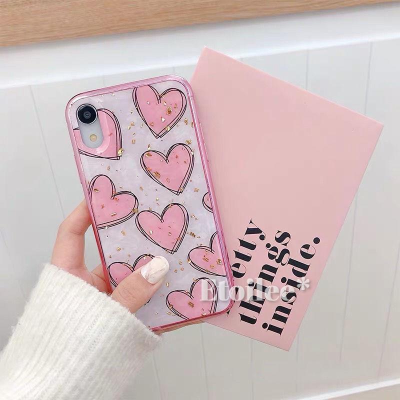 Pink heart glitter iphone case