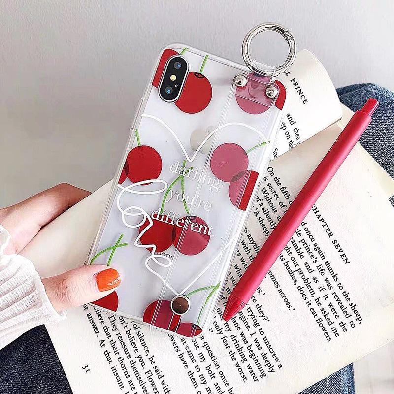 Cherry clear strap iphone case