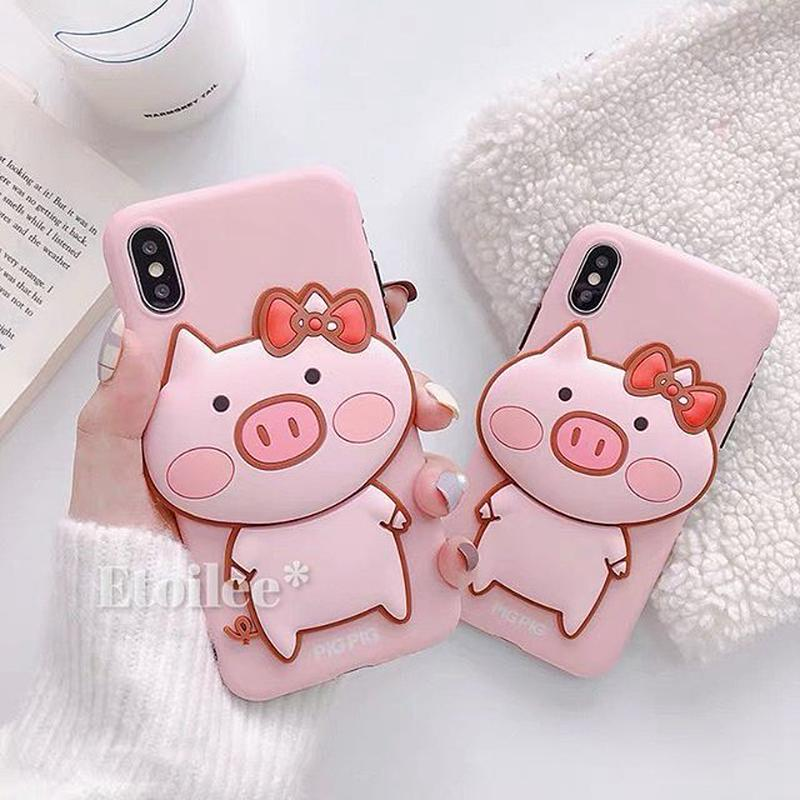 Pink pig iphone case