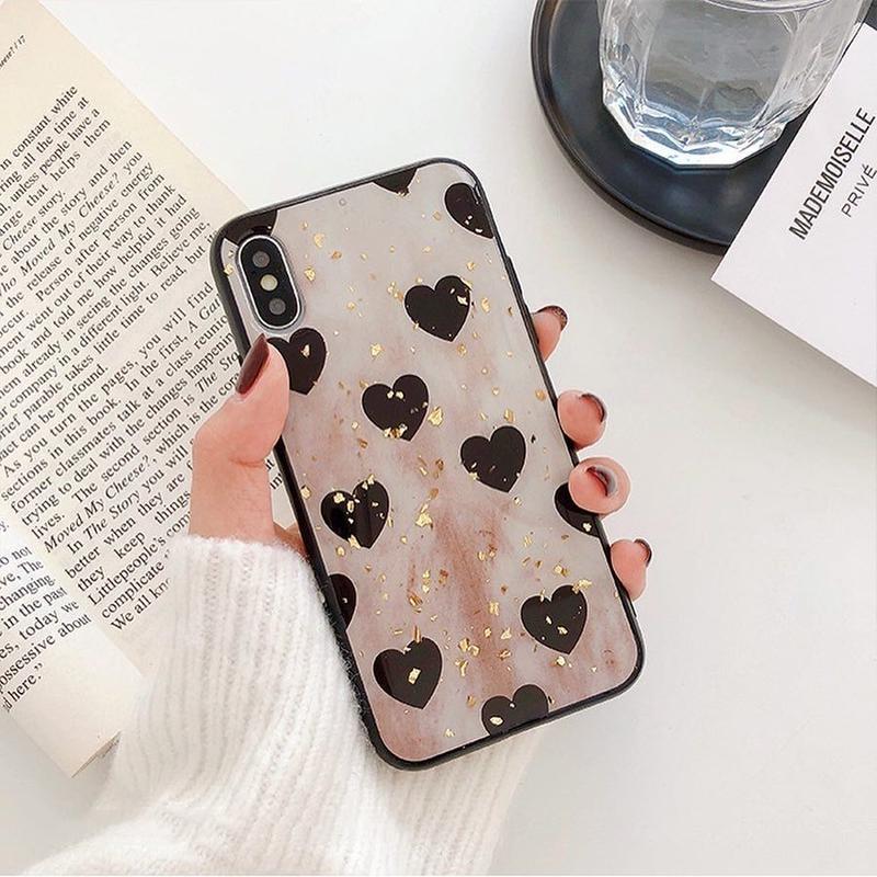 Heart marble glitter iphone case