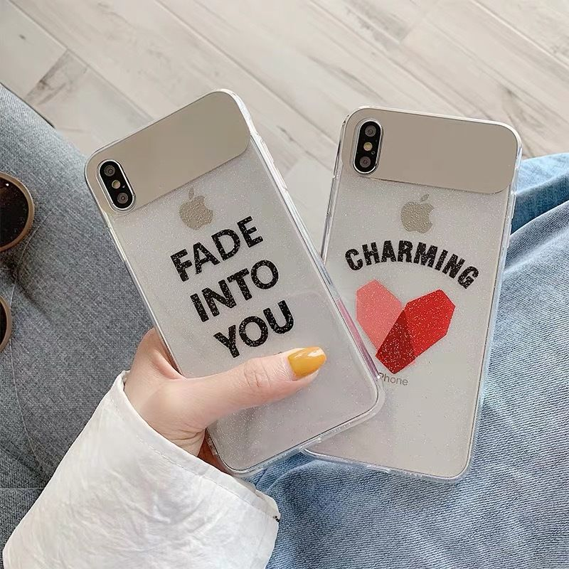 Letter glitter mirror iphone case