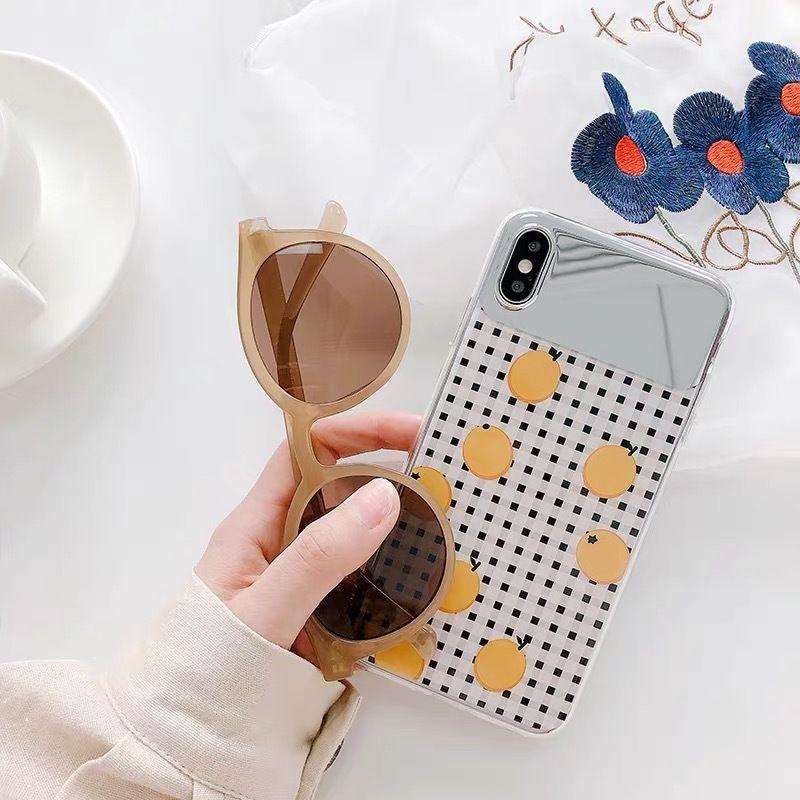 Orange check mirror iphone case