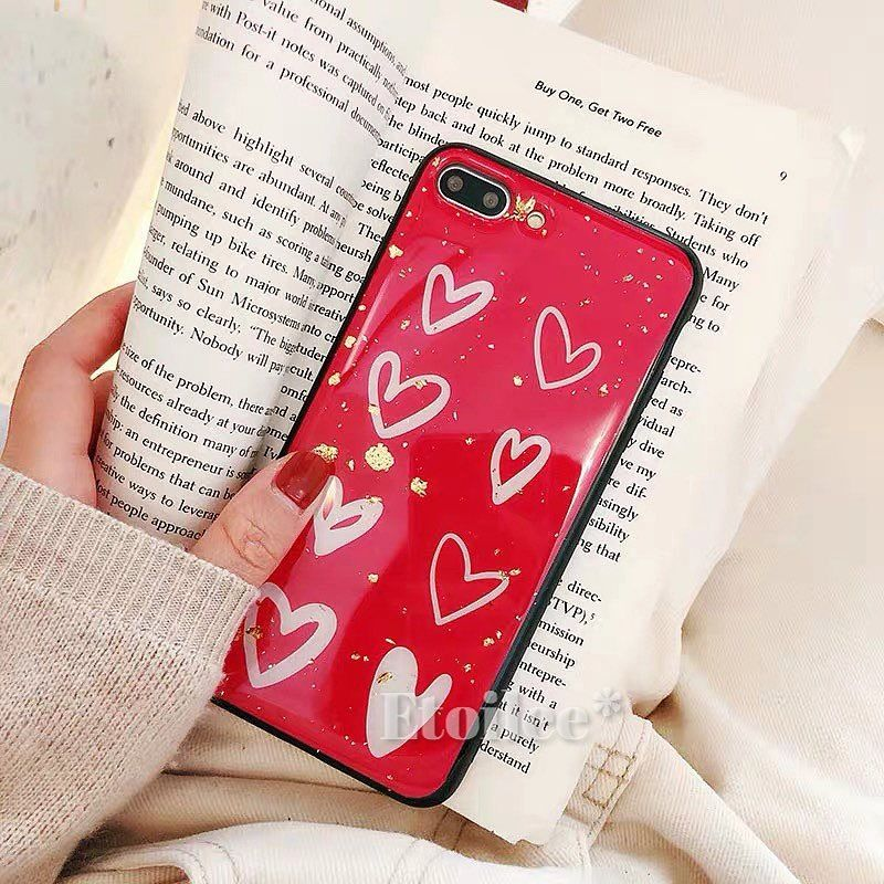 Red white heart iphone case