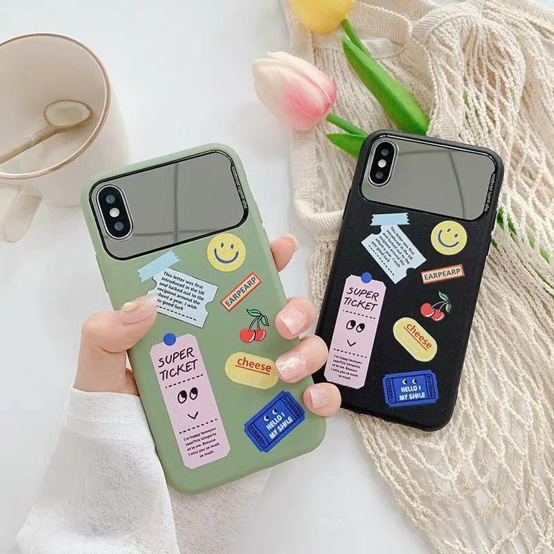 Sticker green black mirror iphone case