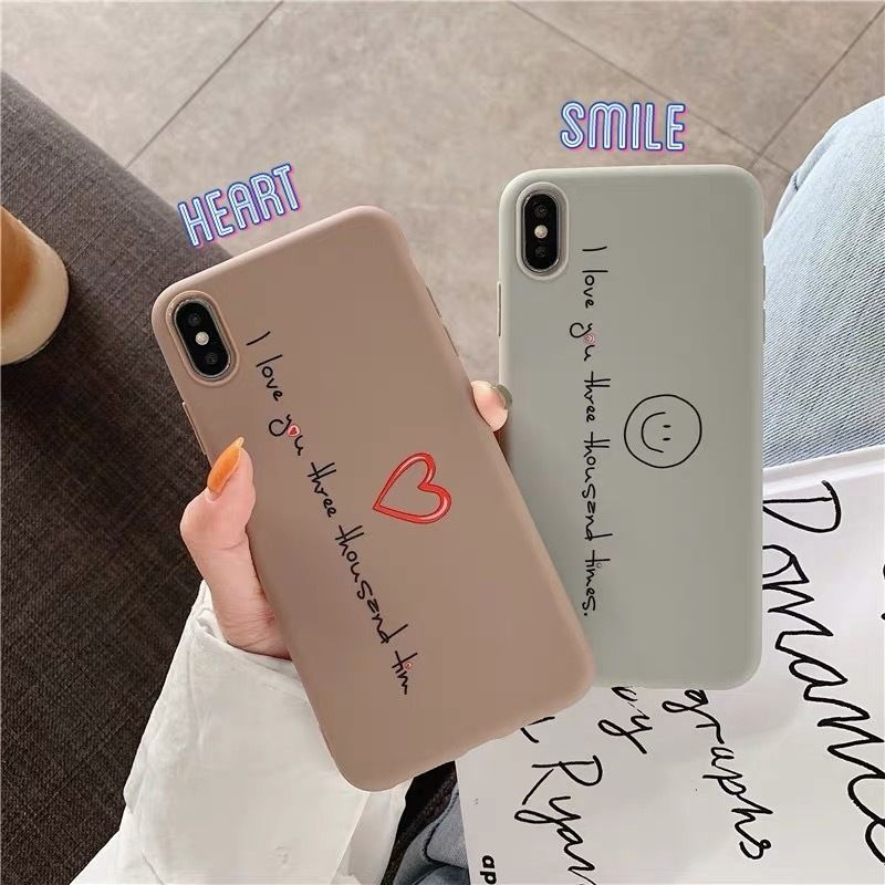 Smile heart brown grey  iphone case