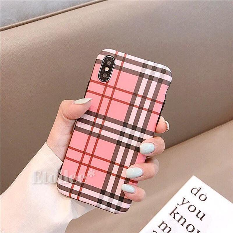 Pink check iphone case
