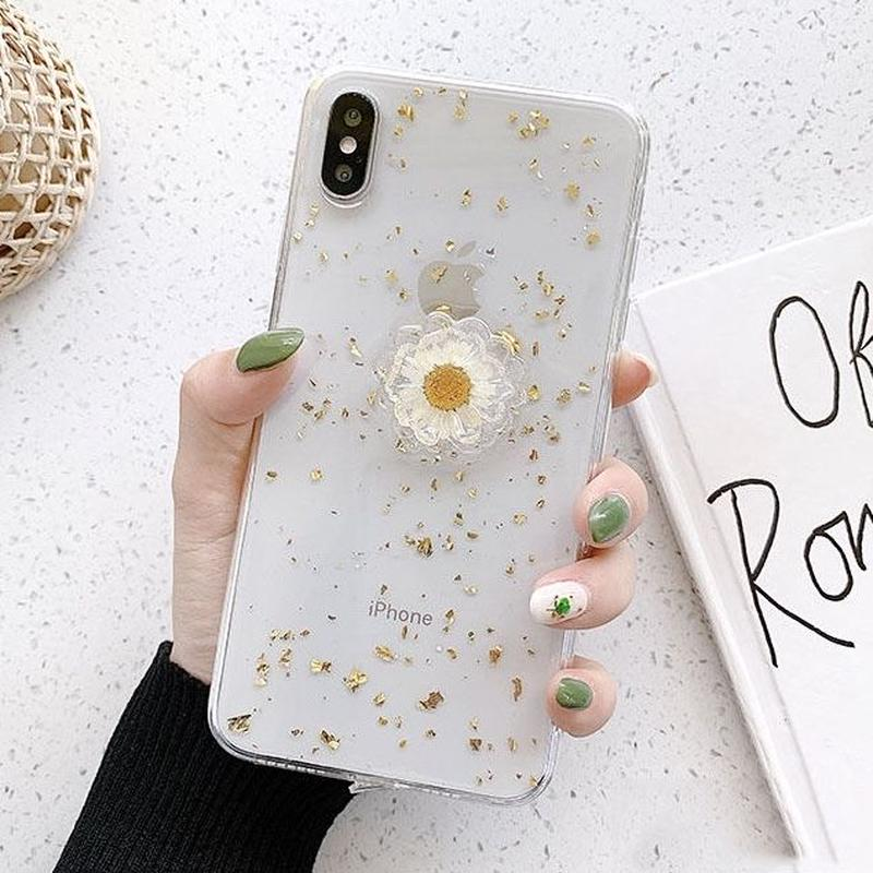 Clear flower gold glitter iphone case
