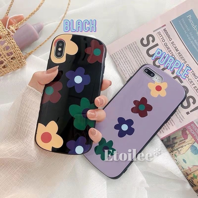 Flower purple black iphone case