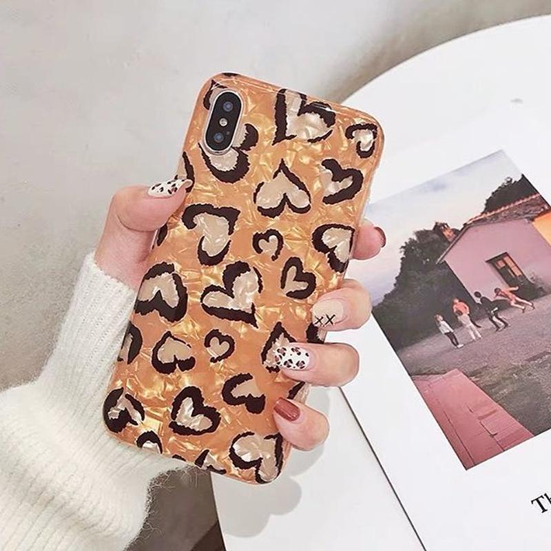 Leopard heart shell iphone case