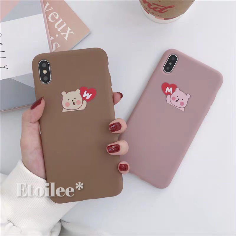 Bear brown pink iphone case