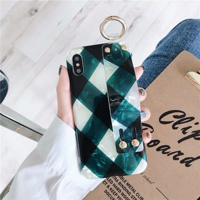 Green check strap iphone case