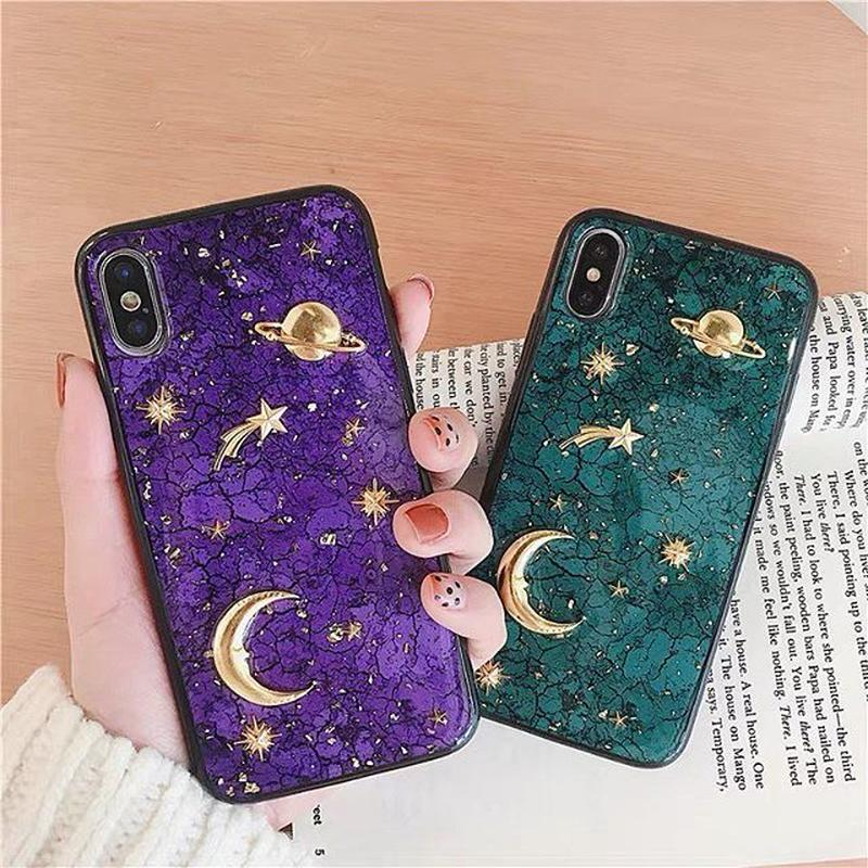 Moon star green purple iphone case