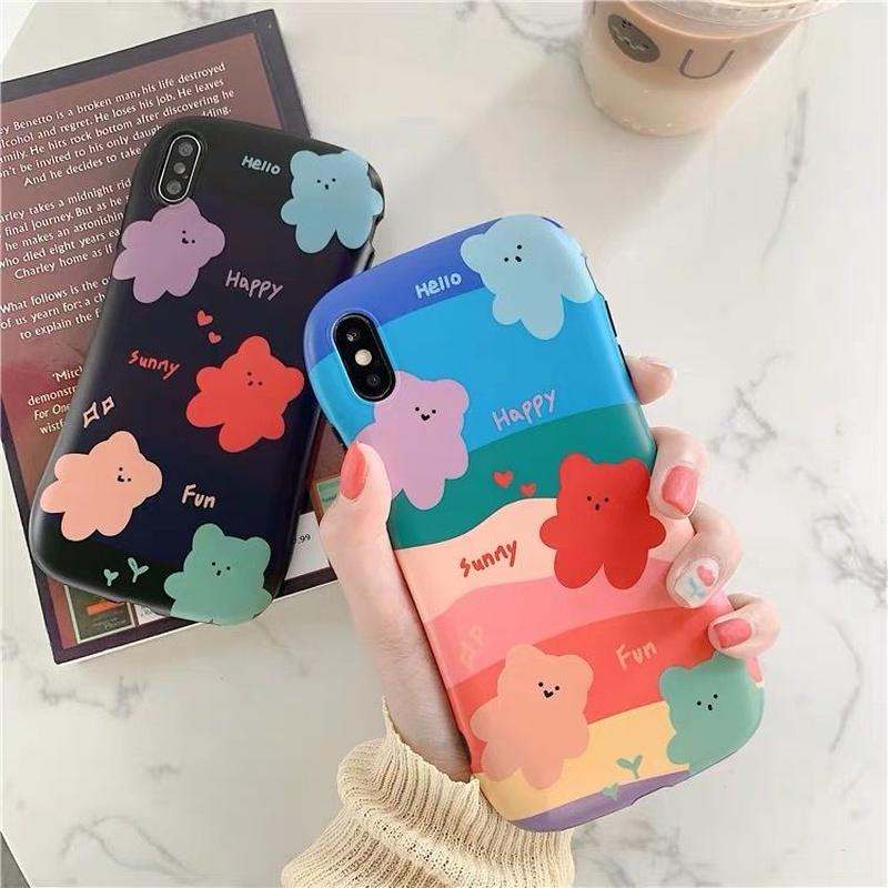 Bear color black iphone case
