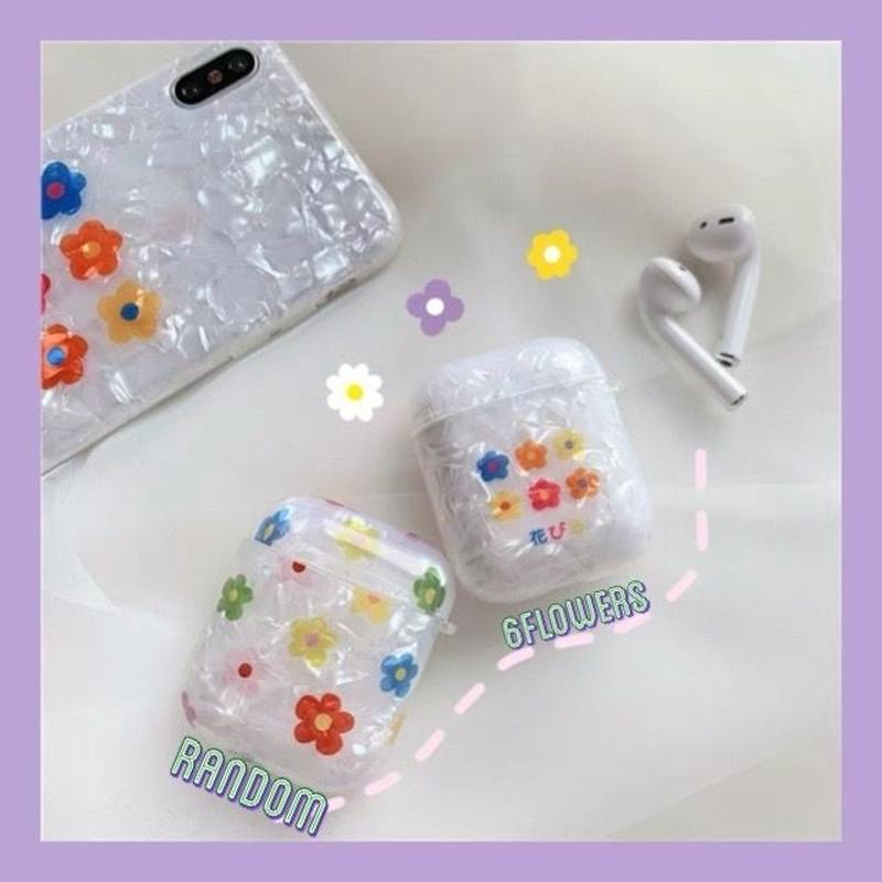 Color flower clear airpods case